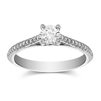 14K White Gold Diamond Engagement Ring With Bead Set Side Diamonds, 0.84cttw