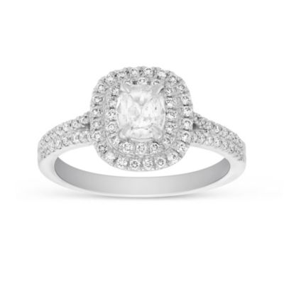 Henri Daussi 14K White Gold Cushion Diamond Double Halo Engagement Ring
