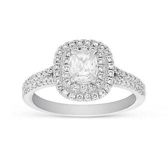 Henri Daussi 14K White Gold Cushion Diamond Double Halo Engagement Ring