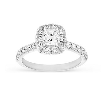 Henri Daussi 18K White Gold Cushion Diamond Ring with Round Diamond Halo, 1.42cttw