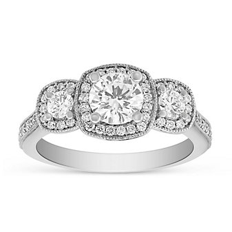 14K White Gold Diamond 3 Stone Ring with Diamond Cushion Milgrain Halo & Shank, 1.24cttw