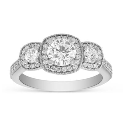 14K White Gold Diamond 3 Stone Ring with Diamond Cushion Milgrain Halo & Shank, 1.24cttw