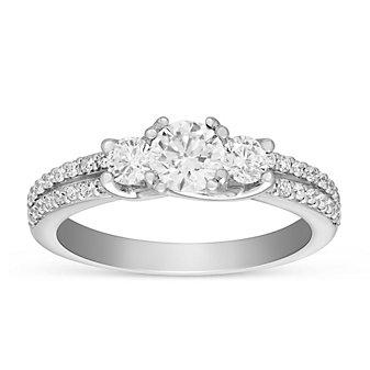 14K White Gold Round Diamond 3 Stone Ring with 2 Row Diamond Shank, 1.27cttw