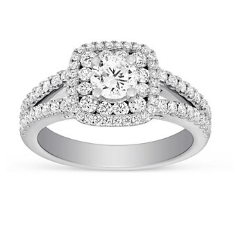 14K White Gold Cushion Double Halo Split Shank Round Diamond Ring, 1.50cttw