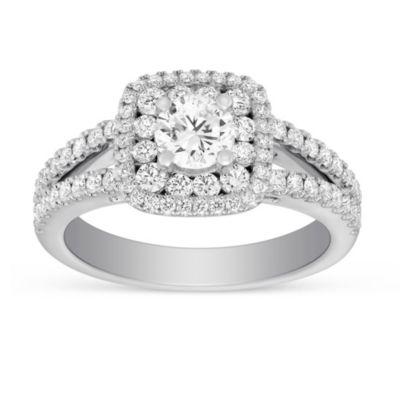 14K White Gold Cushion Double Halo Split Shank Round Diamond Ring, 1.50cttw