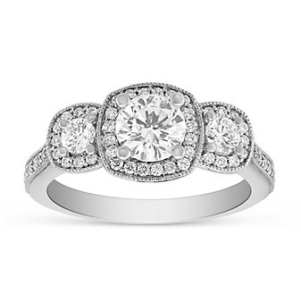 14K White Gold 3 Station Diamond Halo Ring