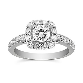 14K White Gold Round Diamond Halo Ring, 0.97CTTW