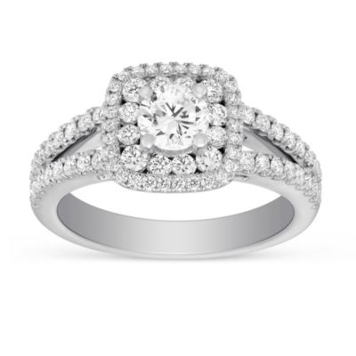 14k white gold diamond ring with diamond double cushion halo and split shank