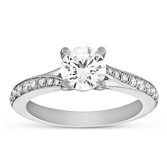 14k white gold diamond ring with swirled diamond shank, 0.99cttw