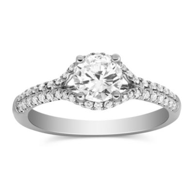 14k white gold diamond ring with diamond halo and 2 row shank, 0.83cttw