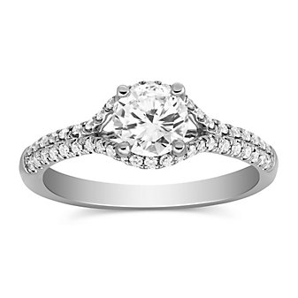 14k white gold diamond ring with diamond halo & shank, 0.80cttw