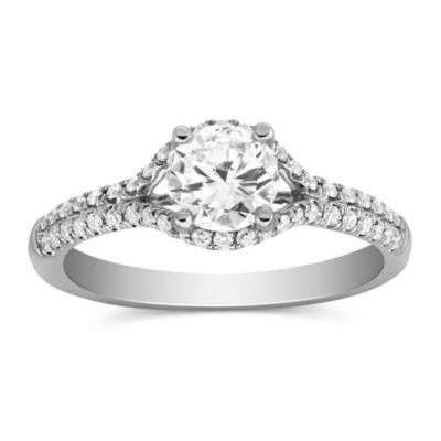 14k white gold diamond ring with diamond halo & shank, 0.80cttw