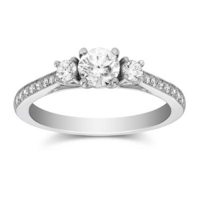 14k white gold diamond 3 stone ring with diamond milgrain shank