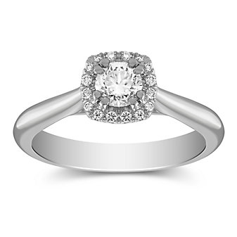 14k white gold diamond ring with diamond cushion halo, 0.84cttw