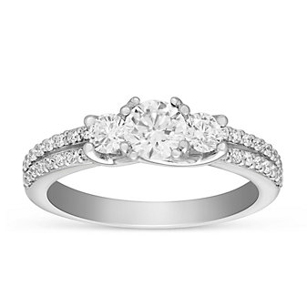 14k white gold diamond 3 stone ring with diamond 2 row shank & ornamental prong, 1.21cttw