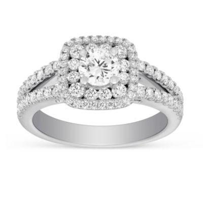 14k white gold diamond double halo ring with diamond cushion halo & split shank, 1.67cttw
