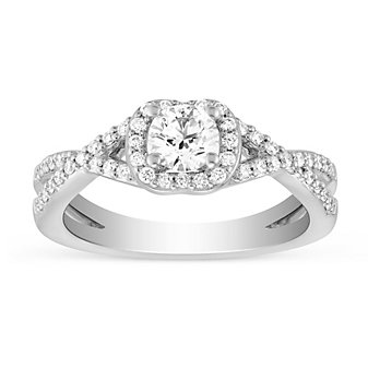 14k white gold diamond ring with diamond twisted shank & halo, 1.04cttw