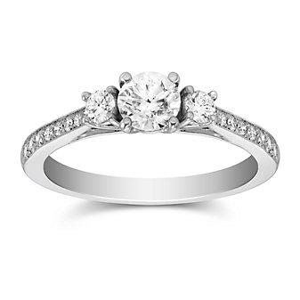 14k white gold diamond 3 stone ring with diamond milgrain shank, 0.96cttw