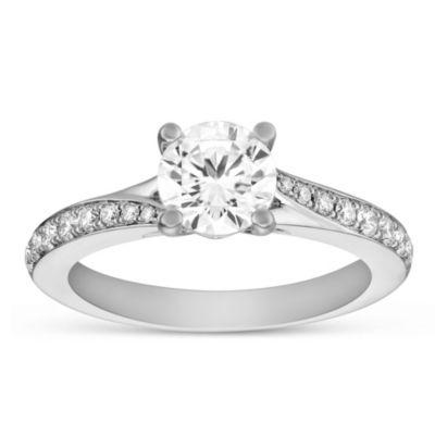 14k white gold diamond engagement ring with diamond split shank, 0.99cttw