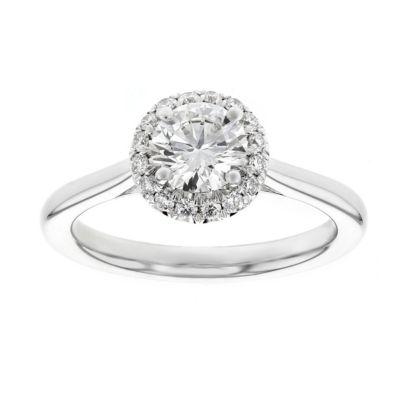 18K White Gold Kalahari Dream Diamond Halo Ring, 0.70cttw