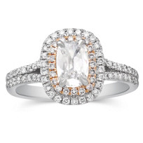 Henri_Daussi_18K_White_&_Rose_Gold_Cushion_Diamond_Halo_Ring,_1.09cttw