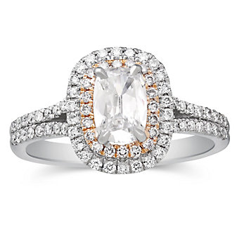 Henri Daussi 18K White & Rose Gold Cushion Diamond Halo Engagement Ring, 1.09cttw