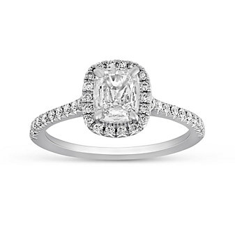 Henri Daussi 18K White Gold Cushion Diamond Halo Engagement Ring