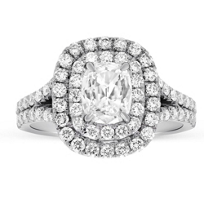 Henri_Daussi_18K_White_Gold_Cushion_Diamond_Ring_With_Double_Halo