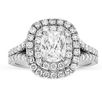 Henri Daussi 18K White Gold Cushion Diamond Halo Engagement Ring