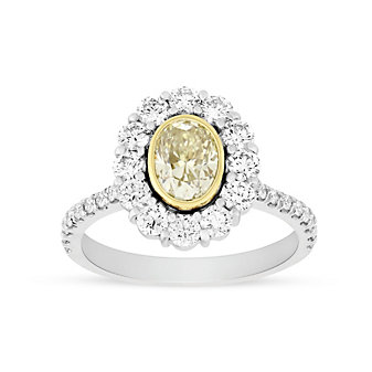 Platinum & 18K Yellow Gold Fancy Yellow Oval Diamond Engagement Ring