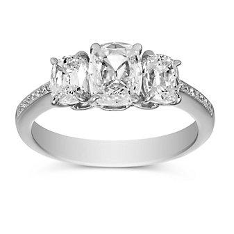 Henri Daussi Platinum Cushion Diamond Engagement Ring, 1.92cttw