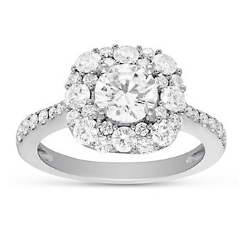 18K White Gold Round Diamond Halo Engagement Ring, 1.93cttw