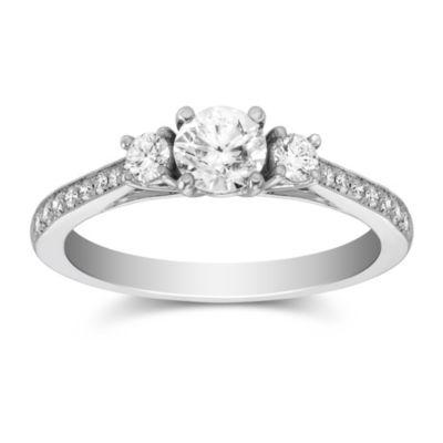 14K White Gold Milgrain Three Stone Round Diamond Ring, 1.15cttw