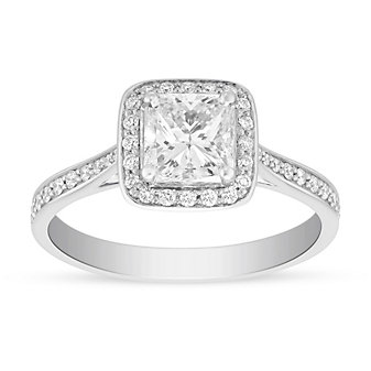 18K White Gold Borsheims Signature Diamond Engagement Ring with Diamond Halo & Shank, 1.19cttw