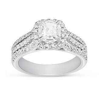 Henri Daussi 18K White Gold Cushion Diamond Ring with Round Diamond Halo and 3 Row Shank, 1.40cttw