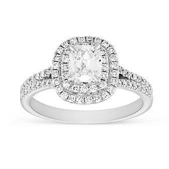 Henri Daussi 18K White Gold Cushion Diamond Double Halo Split Shank Engagement Ring