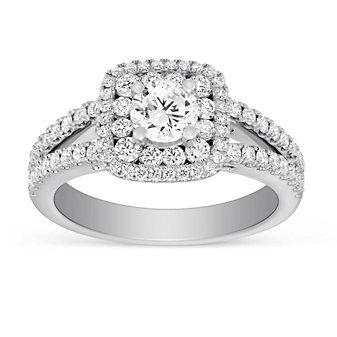 14K White Gold Round Diamond Double Halo Split Shank Ring, 1.74CTTW