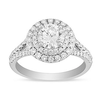 14k white gold diamond ring with diamond double halo and split shank, 1.37cttw