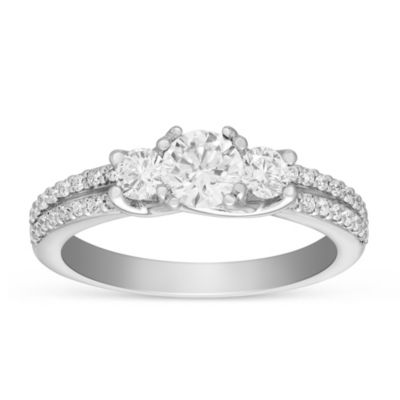 14k white gold 3 diamond & 2 row diamond shank engagement ring, 1.40cttw