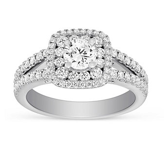 14k white gold diamond double halo ring with diamond cushion halo & split shank, 1.82cttw