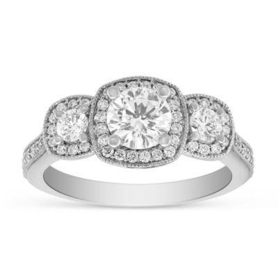 14k white gold diamond 3 stone ring with diamond milgrain cushion halo & shank, 1.55cttw