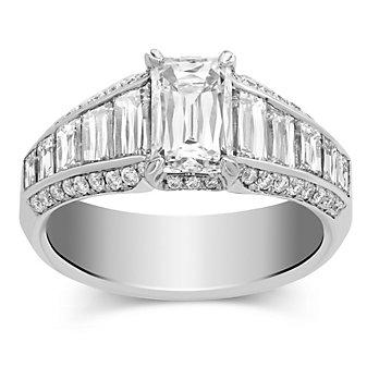 18K White Gold Crisscut Diamond Engagement Ring, 3.05cttw