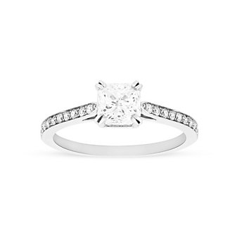 14K White Gold Borsheims Signature Diamond Engagement Ring, 1.16 CTTW
