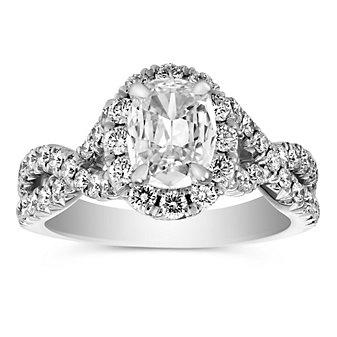 Henri Daussi 18K White Gold Cushion Diamond Engagement Ring, 1.89cttw
