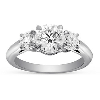 18L White Gold Round Forevermark Diamond Three Stone Engagement Ring