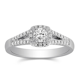 14k white gold diamond halo ring with diamond cushion halo & split shank, 1.29cttw