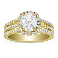 Henri_Daussi_18K_Yellow_Gold_Cushion_Diamond_Halo_Three_Row_Engagement_Ring