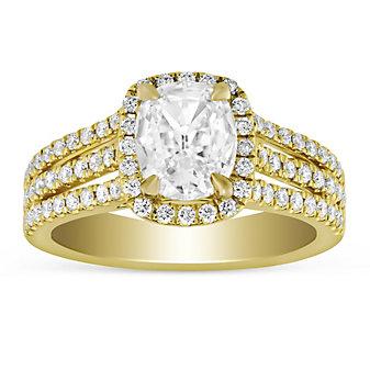 Henri Daussi 18K Yellow Gold Cushion Diamond Halo Three Row Engagement Ring