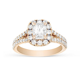 Henri Daussi 14K Rose Gold Cushion Diamond With Round Diamond Halo Engagement Ring