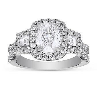Henri Daussi 18K White Gold Cushion Diamond Halo Ring With Trapezoid Diamonds